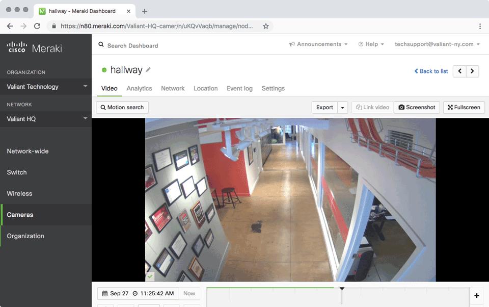 Meraki Dashboard: Security Camera