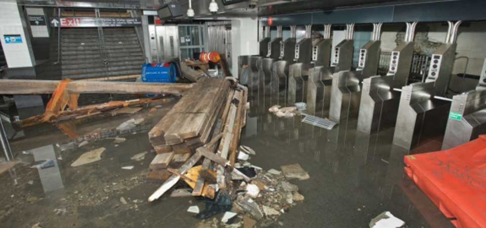 Flooded NYC Subway Station