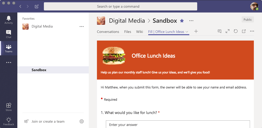Microsoft Teams - Form Display