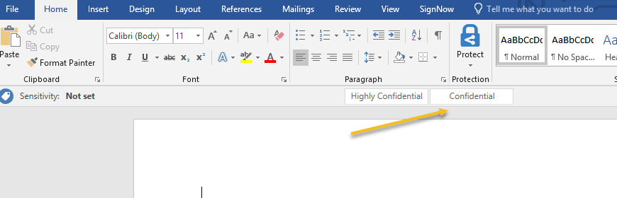 New Microsoft Office Information Protection Bar