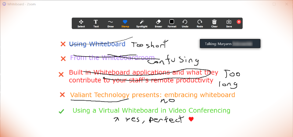 Using a Virtual Whiteboard in Video Conferencing